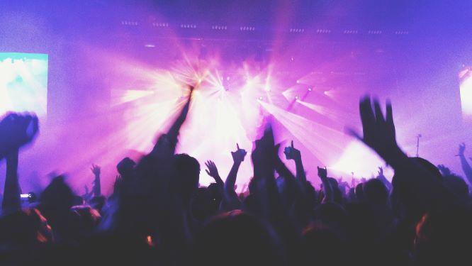 ライブで盛り上がる観客の画像