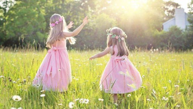草原を楽しそうに駆け回る幼い姉妹の後ろ姿の画像