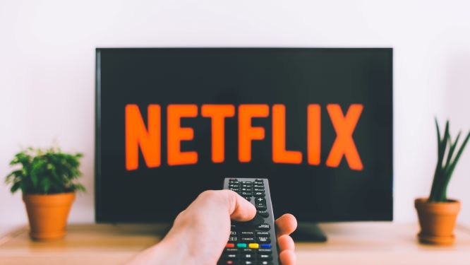 テレビ画面に映るnetflixの文字